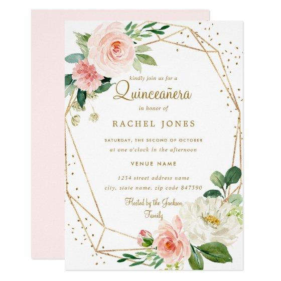 Blush Gold Floral Geometric Quinceanera Invitation