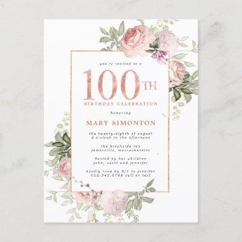 Blush Pink Gold Floral 100th Birthday Party Invitation PostInvitation