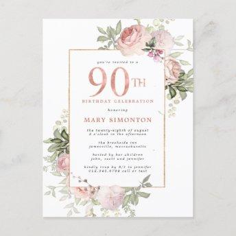 Blush Pink Gold Floral 90th Birthday Party Invitation PostInvitation