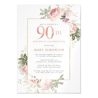 Blush Pink Gold Floral 90th Birthday Party Magnetic Invitation