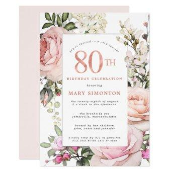 Blush Pink Rose Floral 80th Birthday Party Invitation