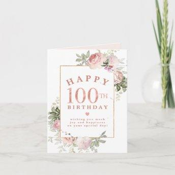 Blush Pink Rose Floral Gold 100th Birthday Invitation