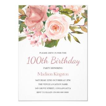 Blush Rose Gold 100th Birthday Party Invite