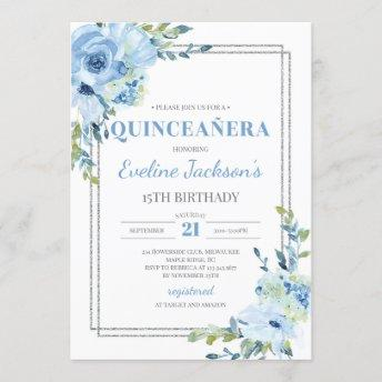 Boho blue floral silver frame rustic quinceanera invitation