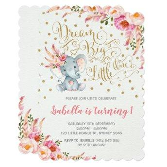 Boho Elephant Birthday Invitation Dream Big Floral