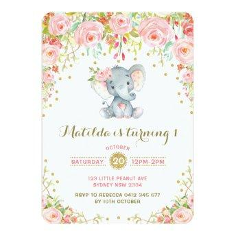 Boho Floral Elephant Invitation Pink Gold Birthday