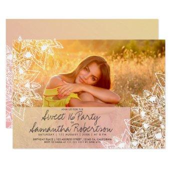 Boho floral mandala modern photo sweet 16 invitation