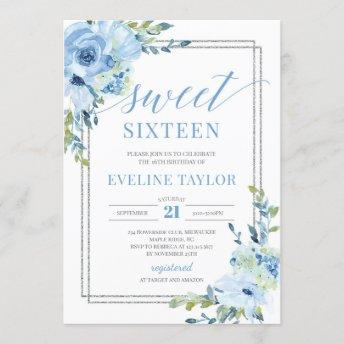 Boho silver geometric blue floral sweet sixteen invitation