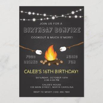 Bonfire Party Invitation, Birthday, Camp out Invitation