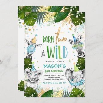 Born Two Be Wild Birthday Safari Animals Party Invitation