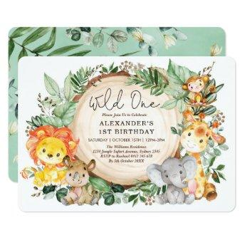 Botanical Jungle Animals Wild One 1st Birthday Invitation
