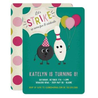 Bowling Birthday Party Invitation - Girl, Invite