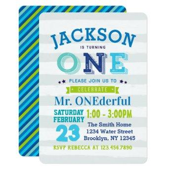 Boy 1st Birthday Invitation Mr ONEderful blue gray