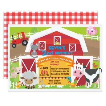 Boy barnyard  - Farm Birthday Invitatio