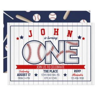 Boy Baseball First Birthday Invitation