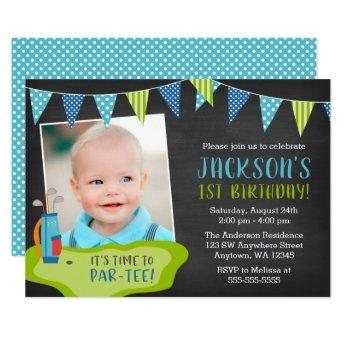 Boy Golf Birthday Party Photo Invitation