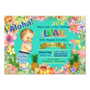 Boy Hawaiian Luau Birthday Party Invitation