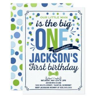 Boy Navy Blue Green First Birthday