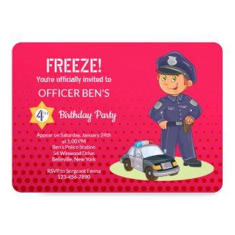 Boy Policeman Birthday Party Invitation