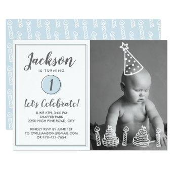 Boy's 1st Birthday Party Photo Candles Cake