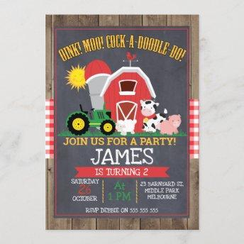 Boys Barnyard Chalkboard Birthday Invitation