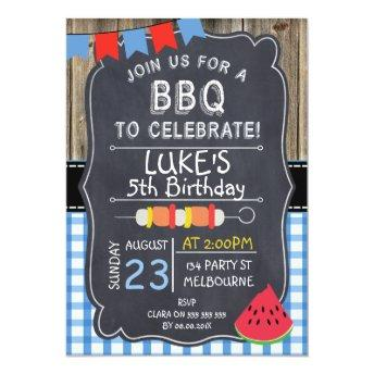 Boys BBQ Birthday Party Invitation