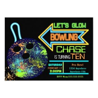 Boys Bowling party, Birthday Neon glow bowling Invitation