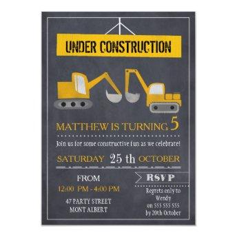Boys Chalkboard Construction Birthday