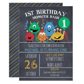 Boys Chalkboard Monsters 1st Birthday