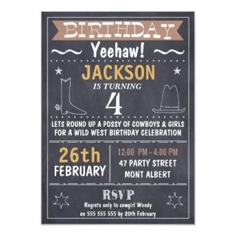Boys Chalkboard Wild West Birthday