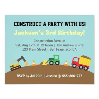 Boys Construction Vehicles Theme Birthday Party