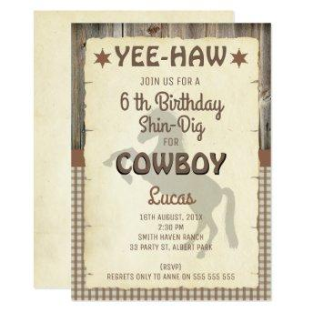 Boys Horse Wild West Birthday Party Invitation
