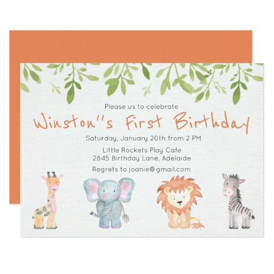 190 Boys Jungle Themed Birthday Invitation