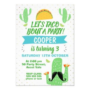 Boys Let's Taco ''bout A Party Birthday Invitation