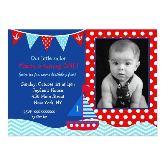 206 Boys Nautical Sailboat 1st Birthday Invitation