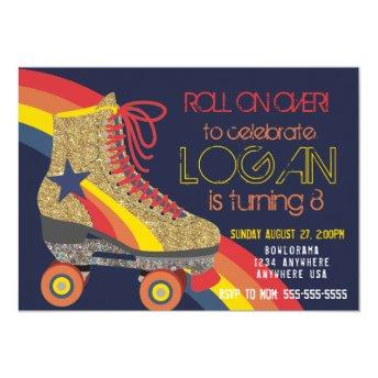 Boys Roller Skating Party, skate, roller disco Invitation