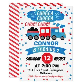 Boys Watercolor Train Birthday Invitation