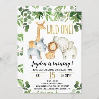Boys Wild One Foliage Safari Birthday Invitation