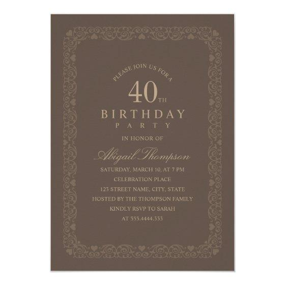 205 Brown 40th Birthday Party Elegant Simple Classy Invitation