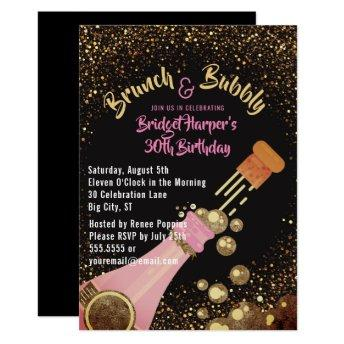 Brunch and Bubbly Champagne Birthday Invitation
