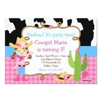 Brunette Cowgirl Western Birthday Party Invitation