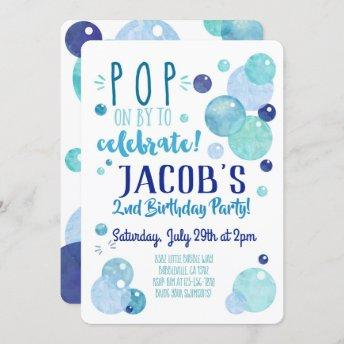 Bubbles Invitation Bubble Birthday Party Blue Boy