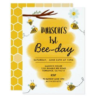 Bumble Bee Birthday Party Invitation | 1st Bee Day