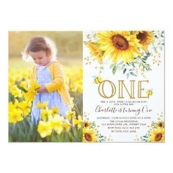 Bumble Bee Sunflower Garden Girl 1st Birthday Invitation