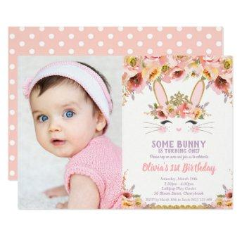 Bunny 1st Birthday Girls Floral Rabbit Photo Invitation