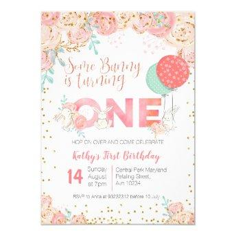 Bunny Garden Spring Birthday Party Invitation