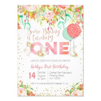 Bunny Rabbit Garden Birthday Party Invitation