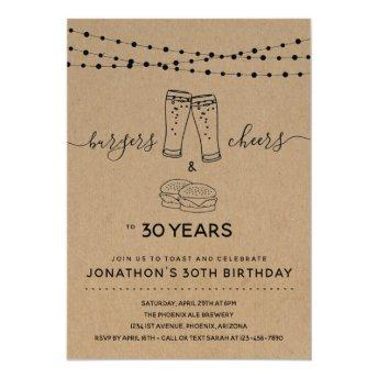 Burgers & Cheers & Beers Birthday Party - Any Age Invitation