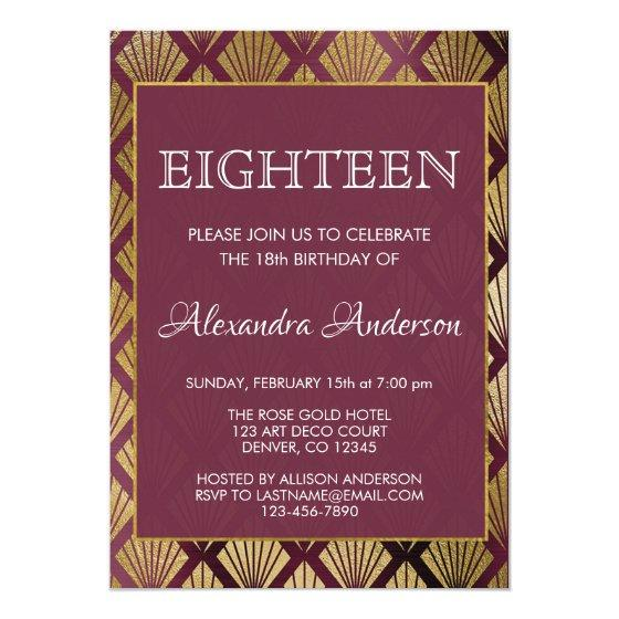 Burgundy And Gold Foil Art Deco 18th Birthday Invitation