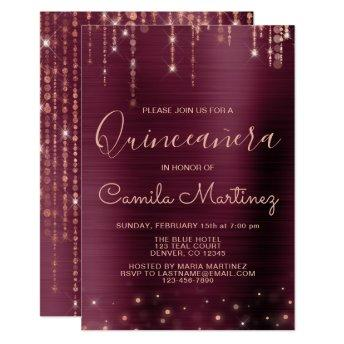 Burgundy and Rose Gold Quinceanera Party Invitation
